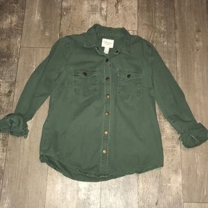 F21 army green snap button up
